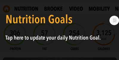 Add your Nutrition Goals