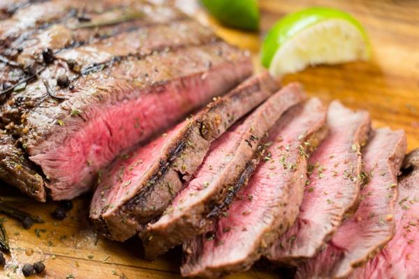 Plate of roasted, lean grass-fed steak