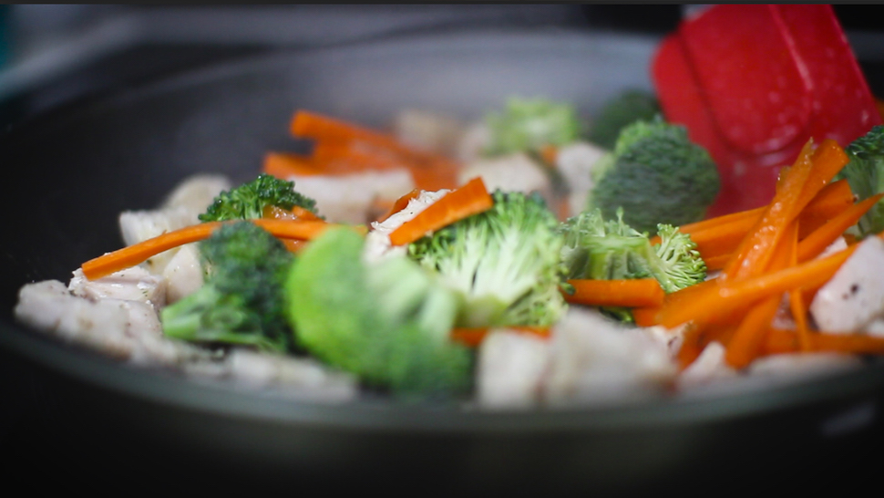 Chicken & Veg stirred in pan