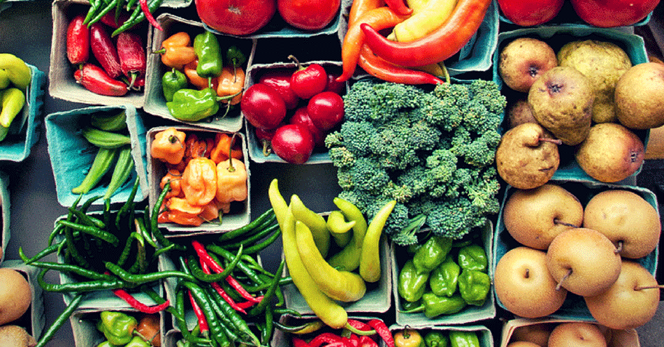 colorful nutritious fruits and vegetables variety peppers pears broccoli