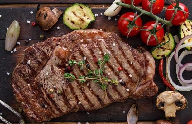 Grass fed steak on a grill
