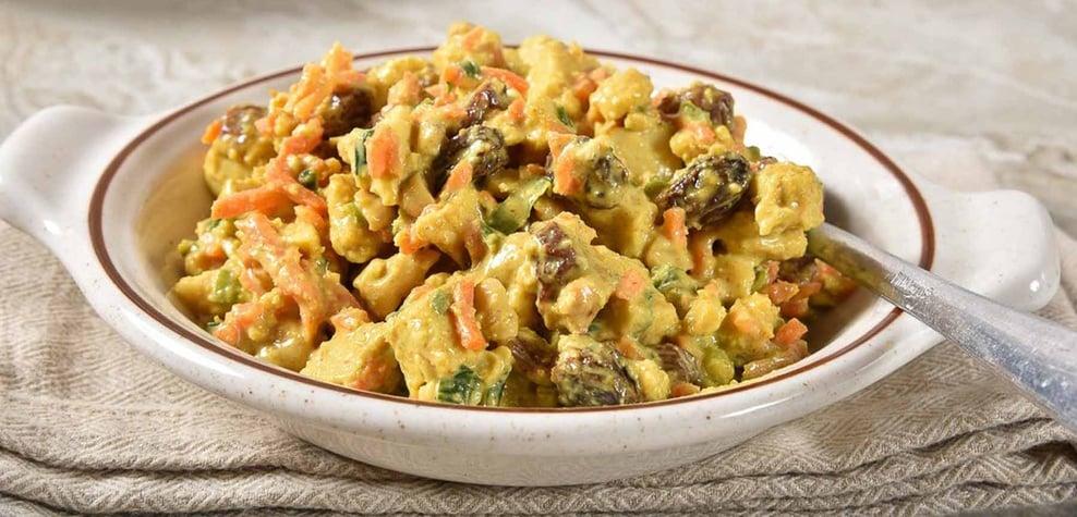 high protein snacks curried chicken salad
