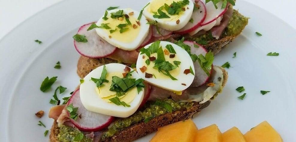 high protein snacks pesto egg toast