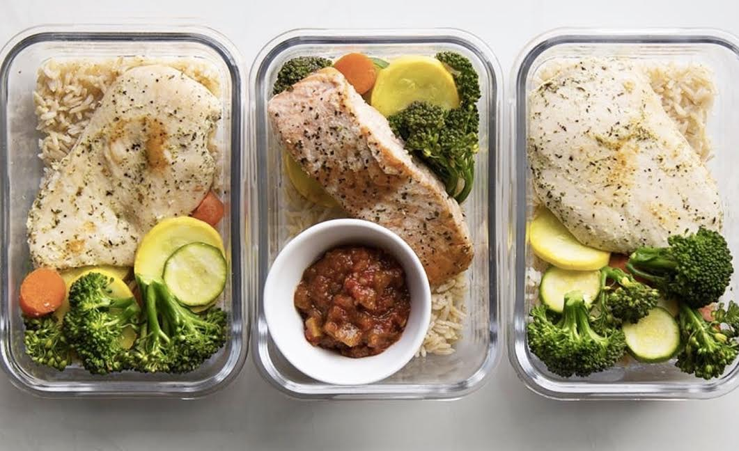 MEAL PREP-chicken salmon brown rice athlete diet