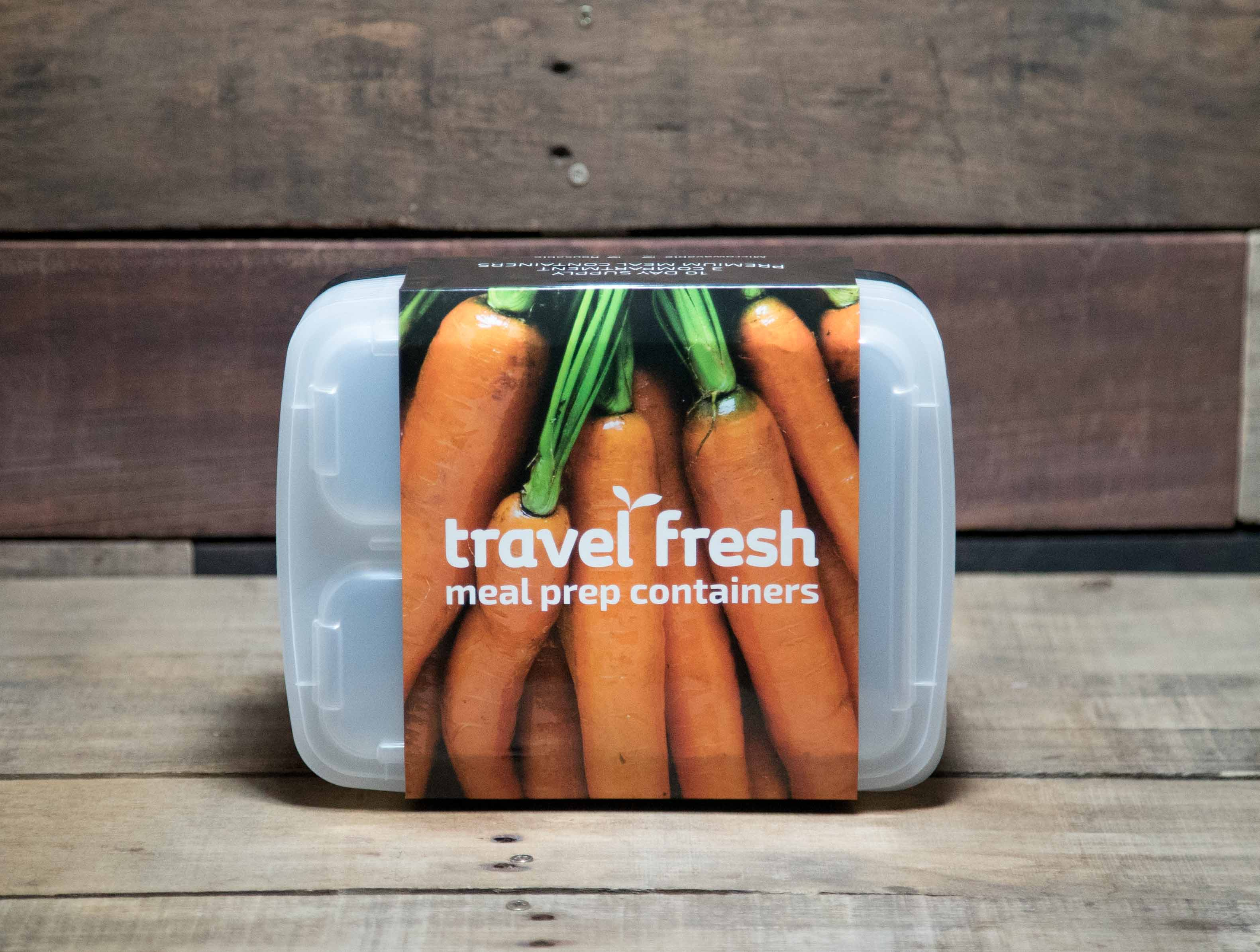 Meal Prep Container with a carrot on the label; brand name Travel Fresh