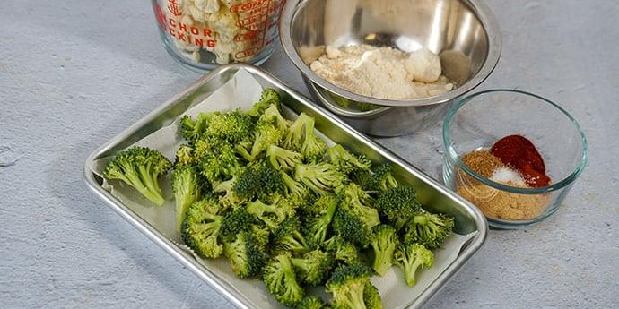 Paleo Broccoli Crispy Tots Recipe prepare ingredients and blanching station