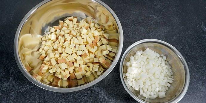 Cut Sweet Potato and Onion