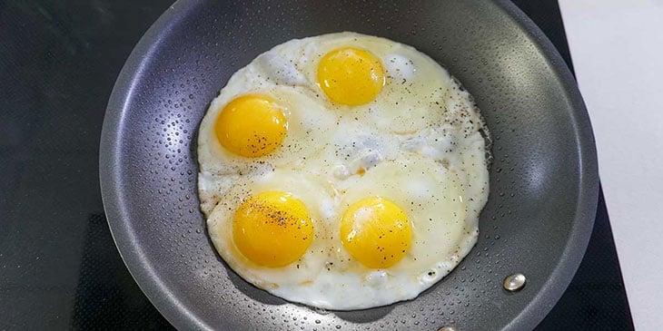 Cook eggs on a non-stick pan