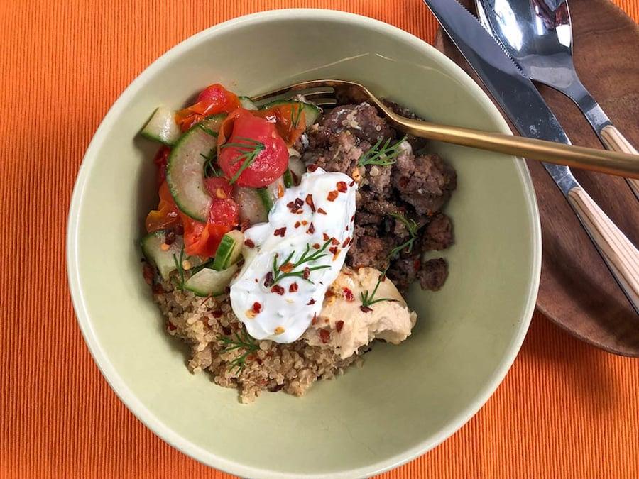 Stacked Mediterranean Beef Bowl