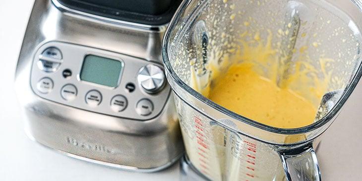 blending protein waffle batter in breville blender