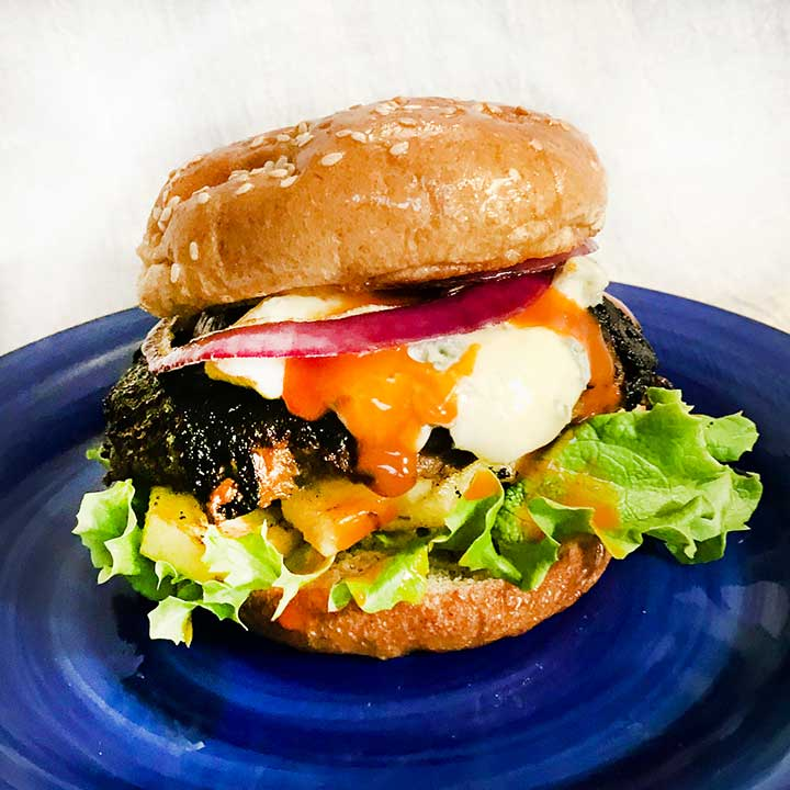 Red, White, and Bleu Bison Burger Recipe