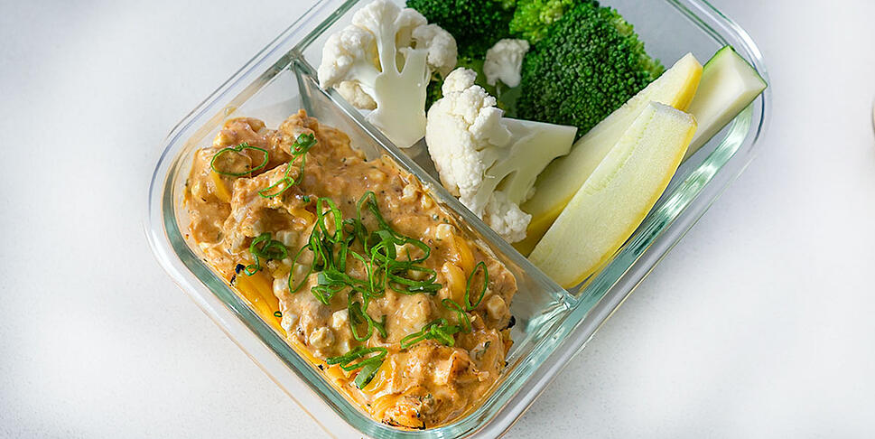 buffalo chicken dip in meal prep container
