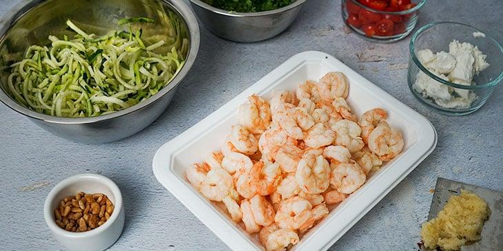 ingredients for garlic shrimp zucchini noodle meal prep
