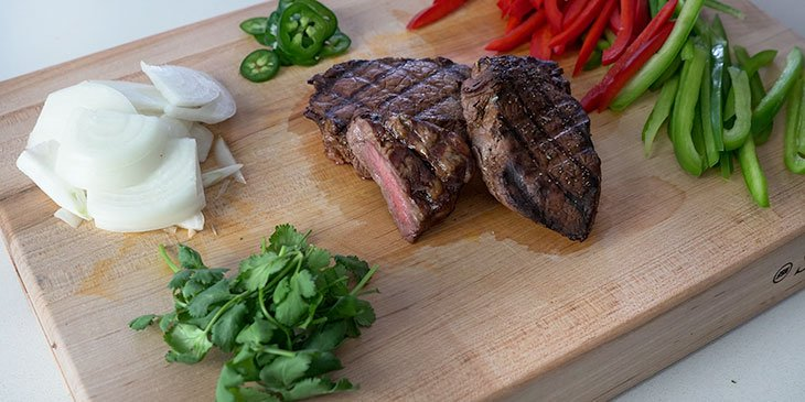 steak fajita bowl recipe ingredients on cutting board