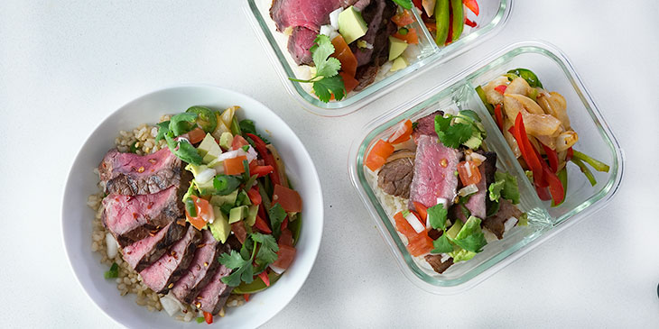 steak faijta bowl recipe in meal prep containers
