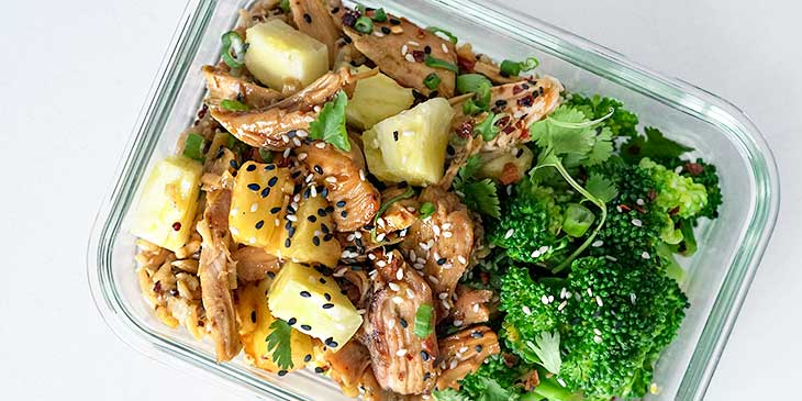 teriyaki chicken in meal prep container