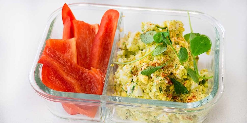 keto avocado egg salad for keto meal prep