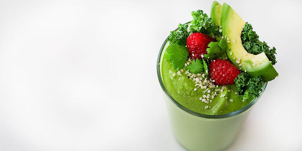 keto green smoothie in meal prep glass
