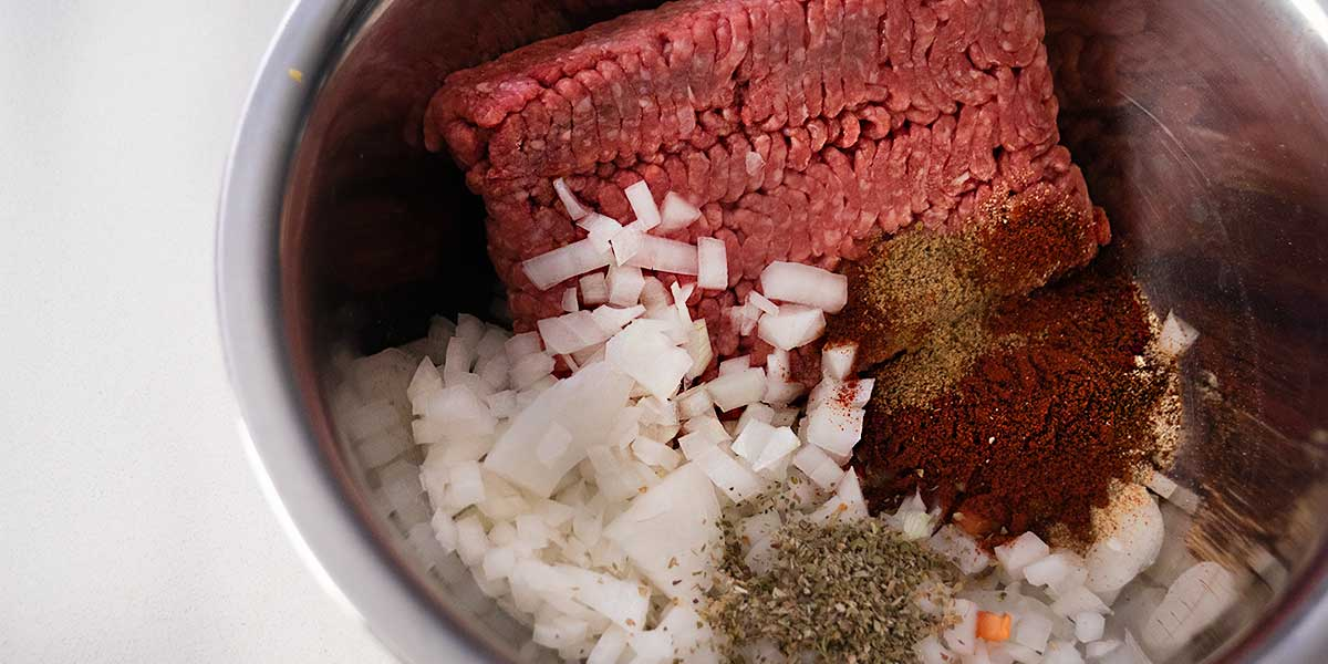 mixing beef for keto casserole