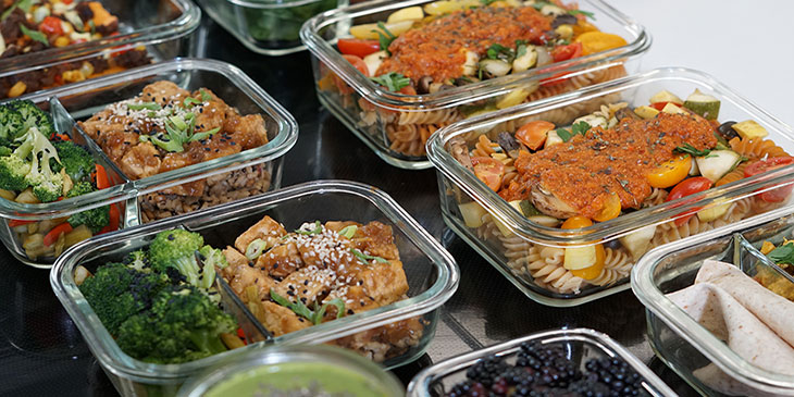 Healthy Vegan Meal Prep Portioned Into Containers