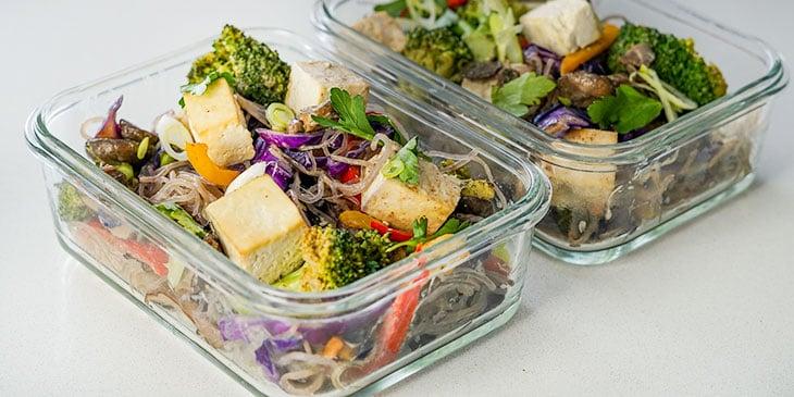 Vegan Kelp Noodle Pad Thai in Meal Prep Containers
