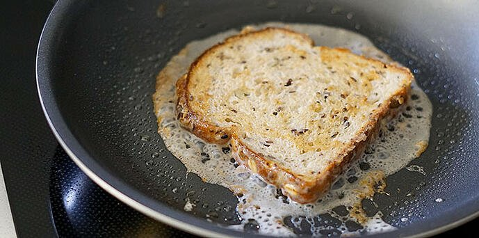 brown your battered vegan French toast in a skillet
