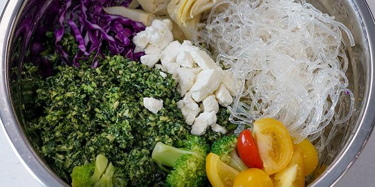 kelp noodle pesto bowl meal prep