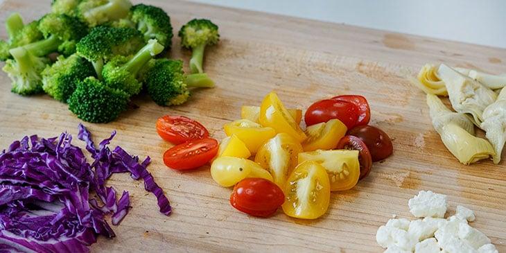 kelp noodle pesto bowl recipe ingredients on cutting board