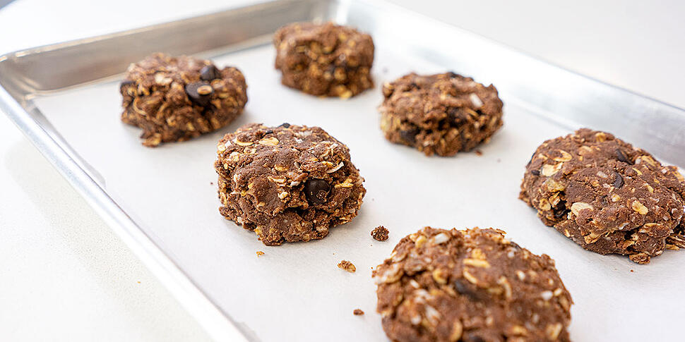 no bake peanut butter protein cookie on sheet tray