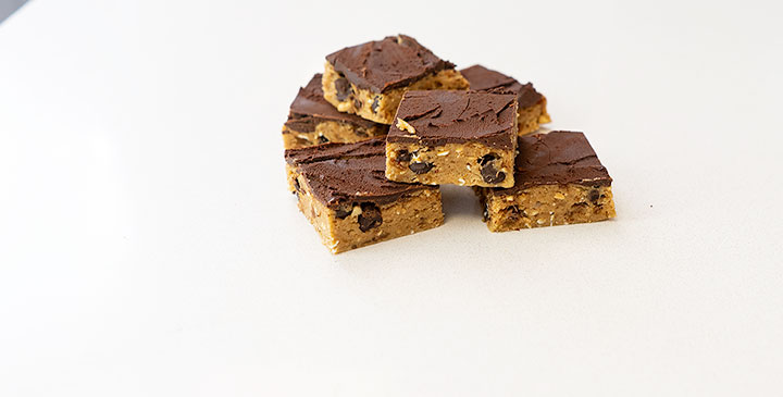 protein cookie dough bars on counter top