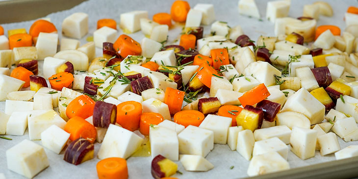 roasting root vegetables on sheet tray
