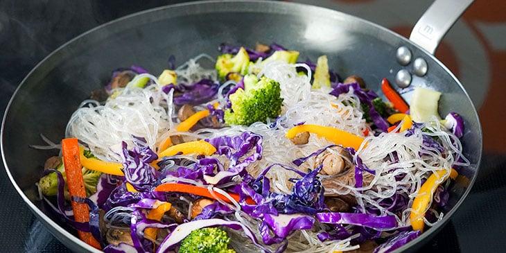 stir frying vegan pad thai