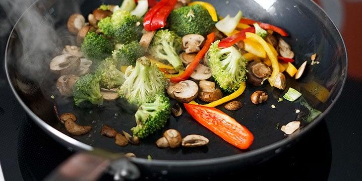 stir frying vegan pad thai for meal prep