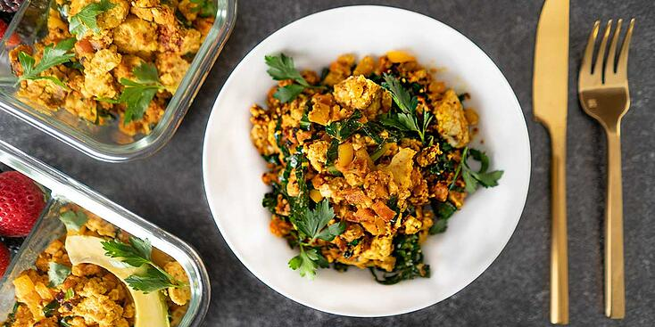 Vegetarian Sweet Potato and Greens Breakfast Hash for Meal Prep