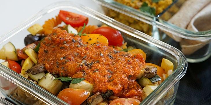 Vegan Meal Plan Protein Pasta with Romesco Sauce