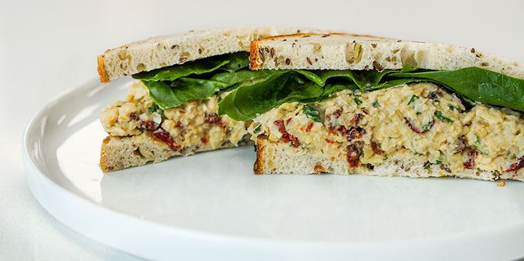 high-protein vegan tuna salad sandwich