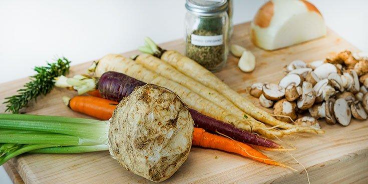 whole-foods plant based diet ingredients on cutting board
