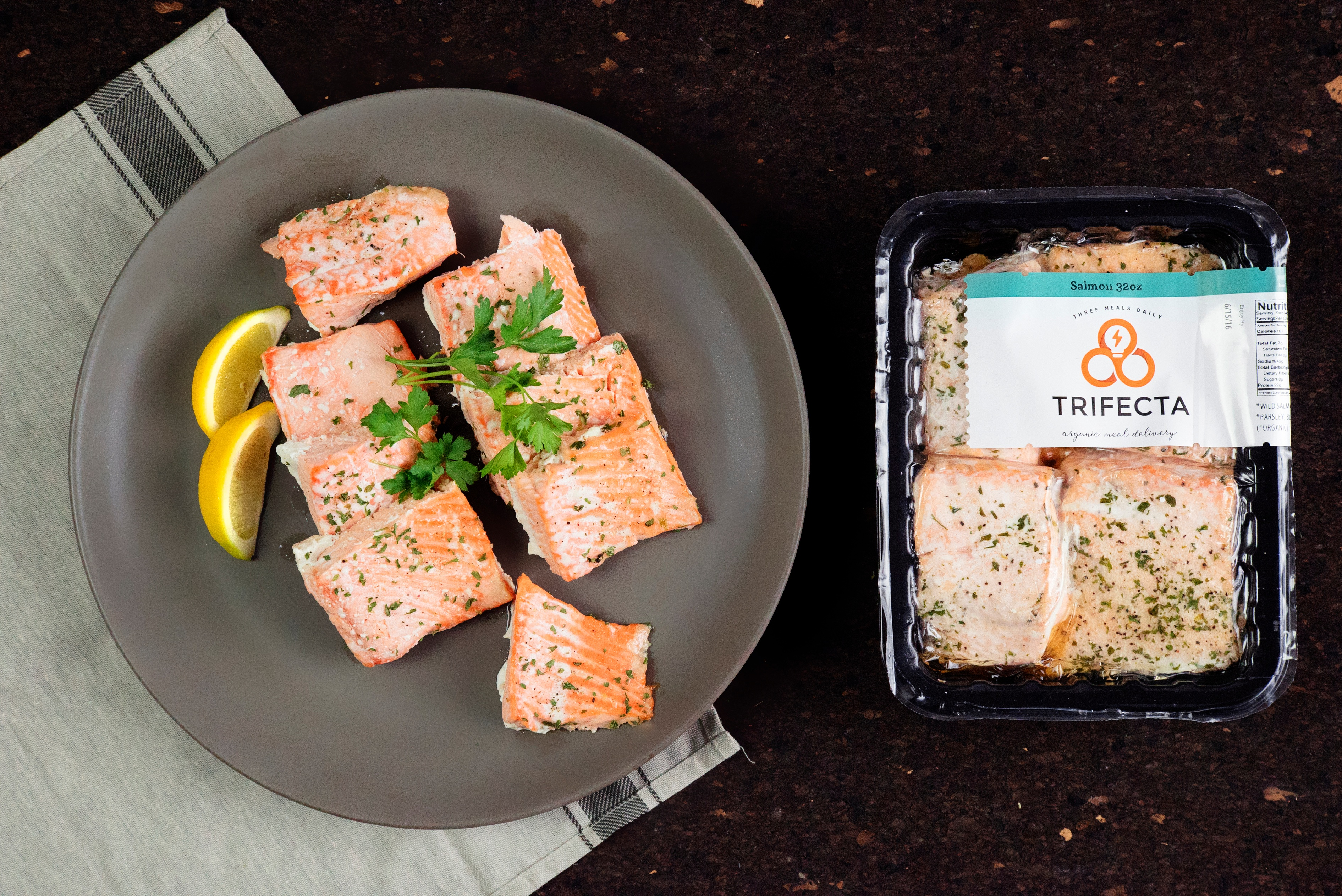Trifecta salmon in package and on plate