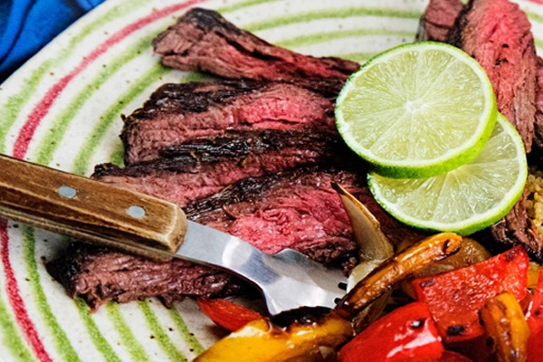 flat iron steak and bell peppers - PALEO