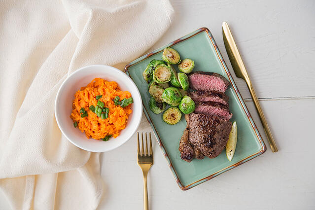 Clean Eating Meal Steak and Brussels Sprouts with Side