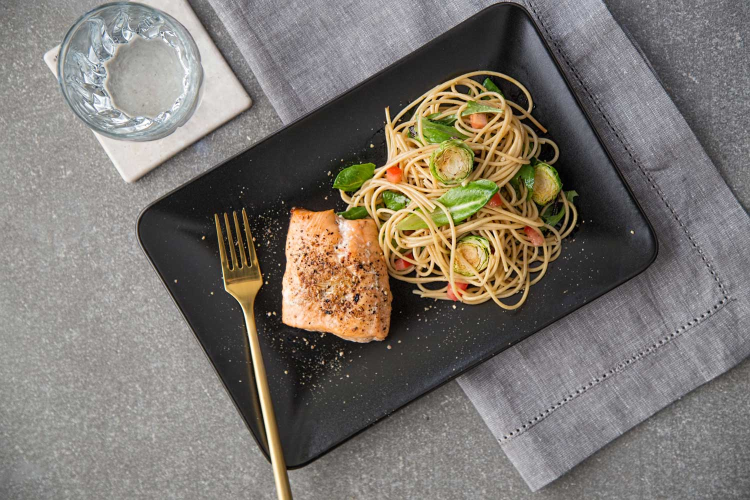 Clean Eating Meal Salmon with Side of Pasta