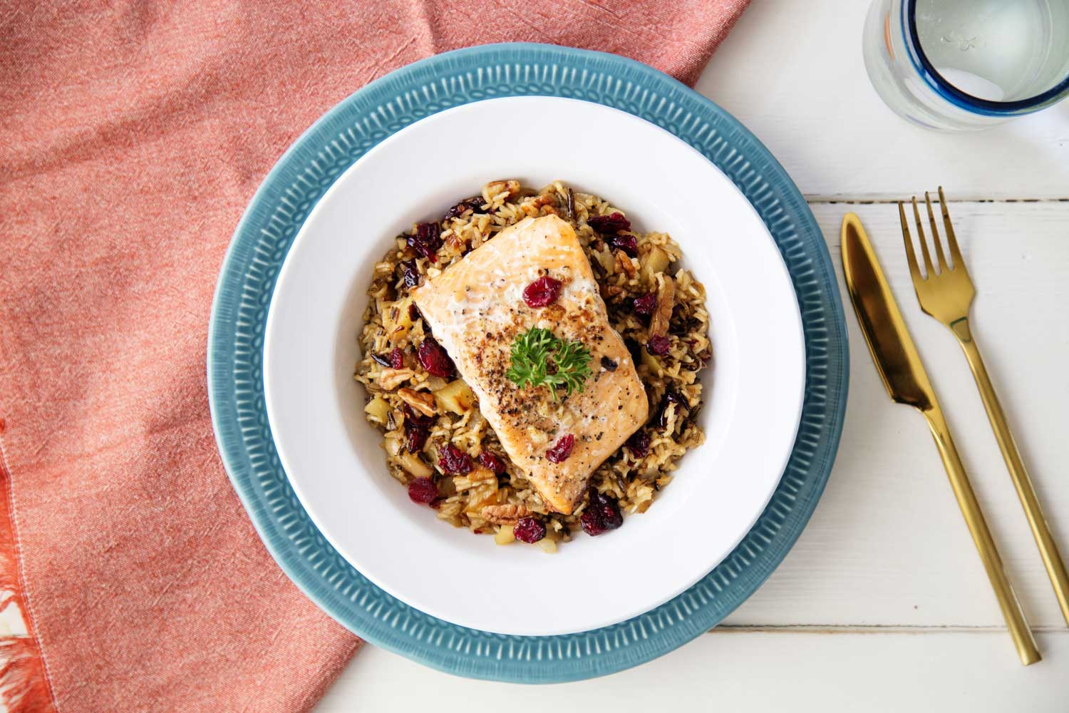 Clean Eating Meal Salmon with Wild Rice