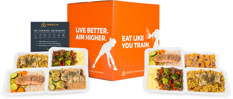 Orange Trifecta box next to packaged Trifecta meals
