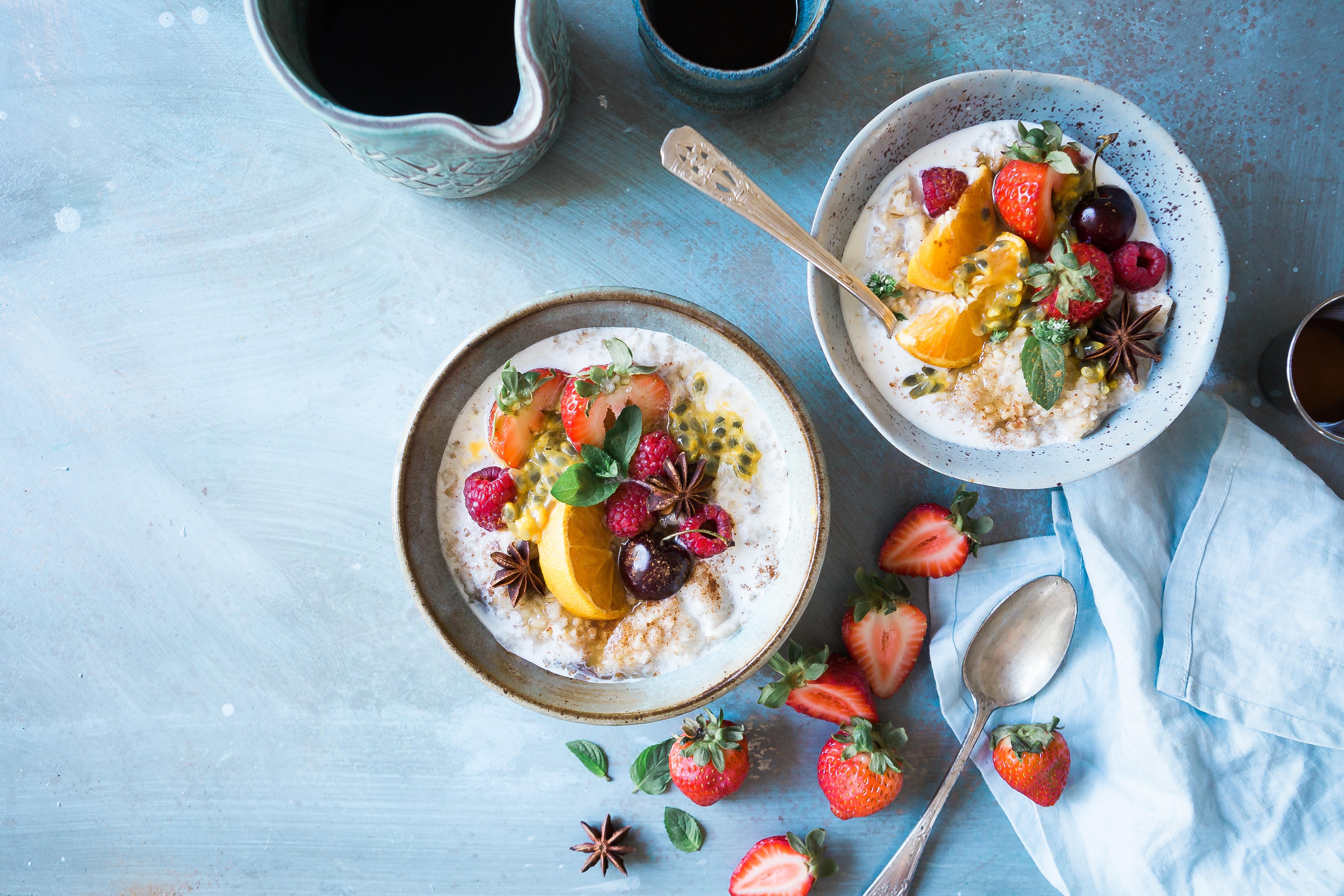 healthy carbs oatmeal and fruit breakfast bowl grain bowl
