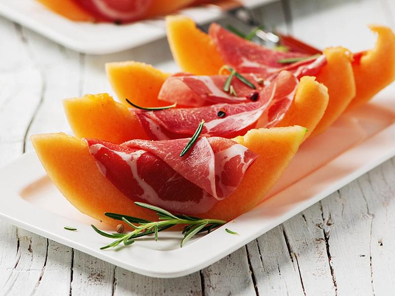 cantaloupe proscuitto - fruit and protein paleo snack