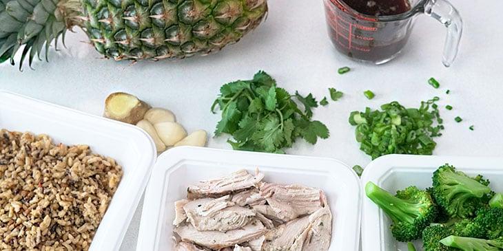 Teriyaki Chicken Pineapple Bowl Recipe Ingredients on a white background