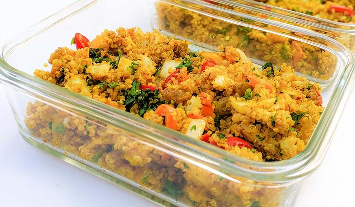 Curried Cauliflower and Quinoa in Meal Prep Containers