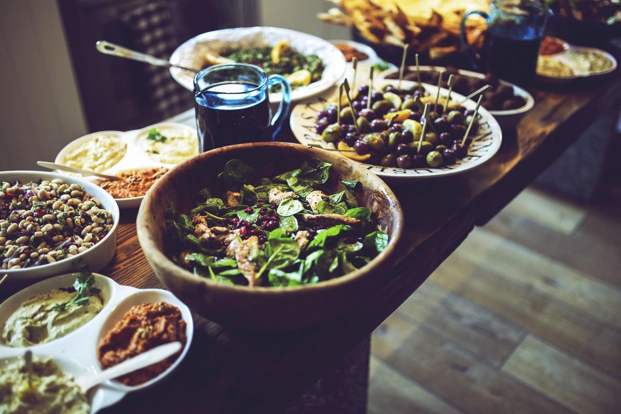 food-salad-healthy-vegetables holiday buffet