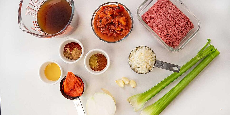Measured ingredients for keto chili recipe