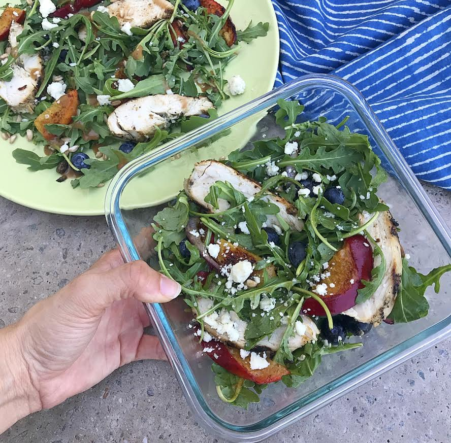 meal prep ideas grilled chicken and peach salad